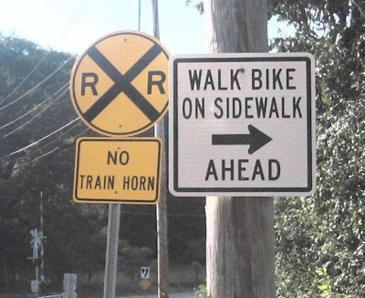 Walk Bike On Sidewalk Road Sign