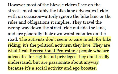 Quote On Bicycle Activists As Recreational Protesters