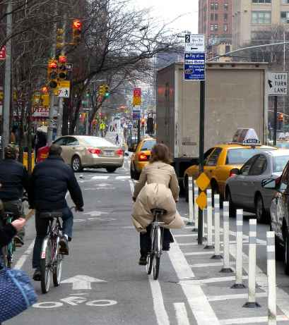Cyclists In A New York Bike Lane