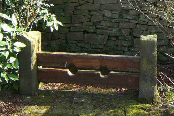 The old village stocks in Chapeltown, Lancashire, England
