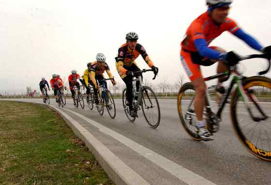 Cyclists In A Pace Line