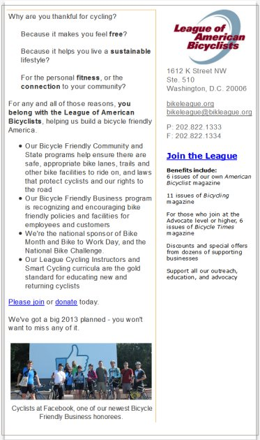 League Of American Bicycles E-mail Advertisement