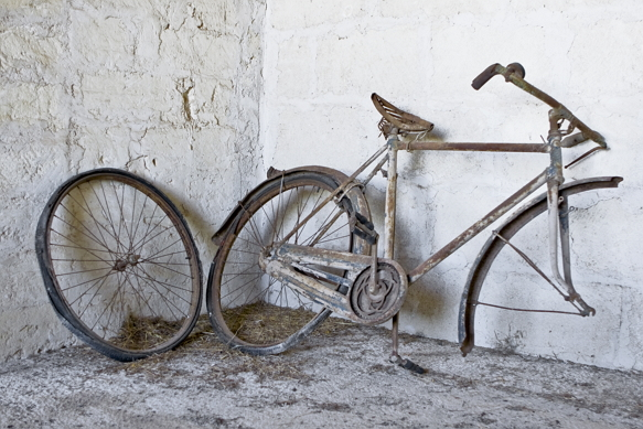 Old Bike With Front Wheel Removed