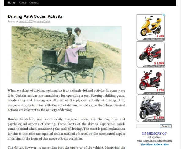 IsolateCyclist Blog With Advertisements