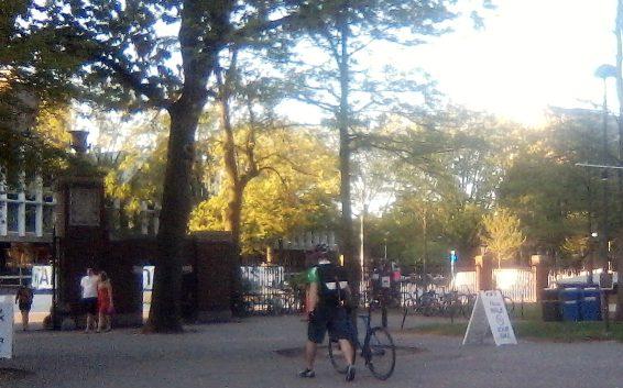 Walking A Bike In Harvard Yard